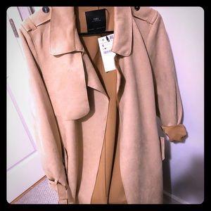 Zara outwear- trench coat nubuck like- beige/camel